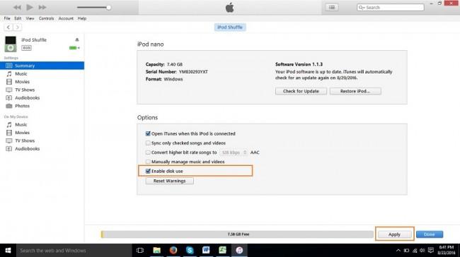 Cómo transferir música del iPod nano a la computadora-Ambas versiones de iTunes las mismas