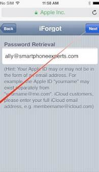reset the forgotten iCloud password settings