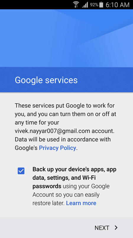 recover samsung contacts - add new google account