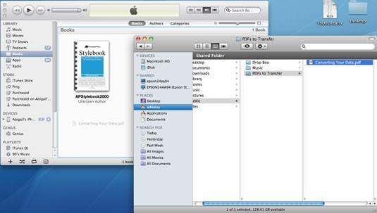使用iTunes进行iPad PDF传输 - 步骤5:将PDF拖放到iTunes Book库中