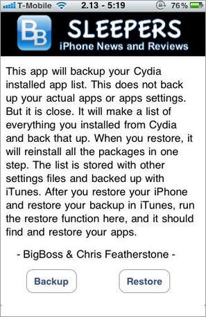 Geajailbreakte iPhone-Apps mit AptBackup sichern