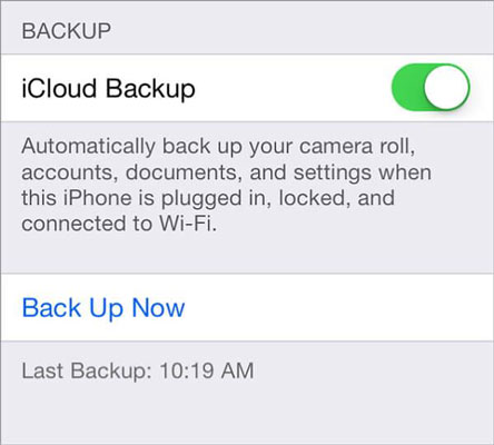 backup iPhone contacts with icloud- step 3