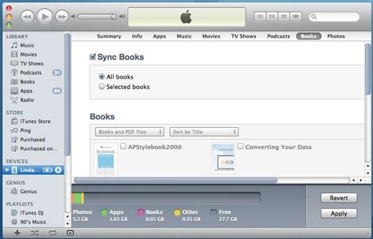 使用iTunes将PDF文件从PC传输到iPad  - 根据您的需要选中复选框