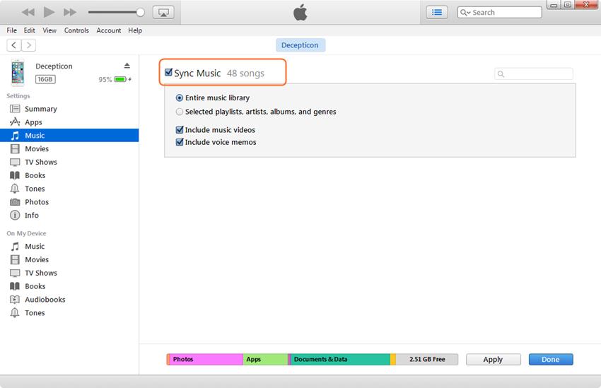 Edit iPhone Playlist - Check Sync Music