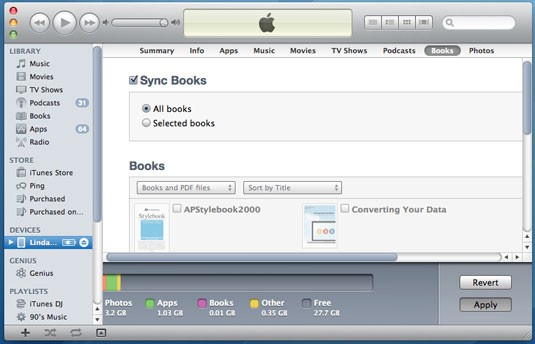 """使用iTunes将PDF文件从PC传输到iPad  - 单击""""应用""""按钮进行同步"""