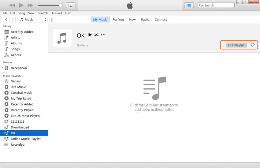 Edit iPhone Playlist - Click Edit Playlist Button