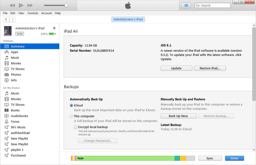 Transfer Apps from iPad to Computer with iTunes - step 1: install and open iTunes on PC