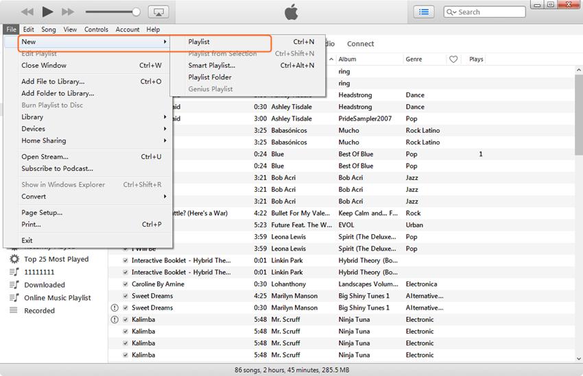 Edit iPhone Playlist - Create New Playlist
