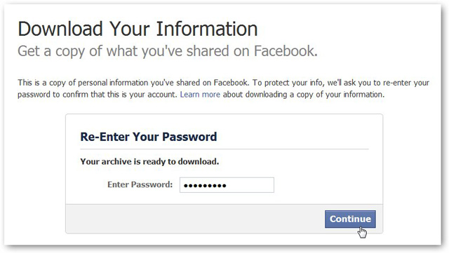 reenter password to recover facebook messages