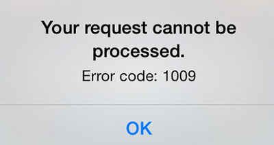 error 1009 iphone