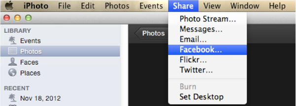 export iphoto to facebook-choose Facebook