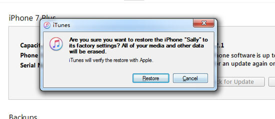 reset iphone without password via iTunes