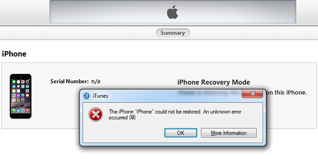 fix iphone error 9006