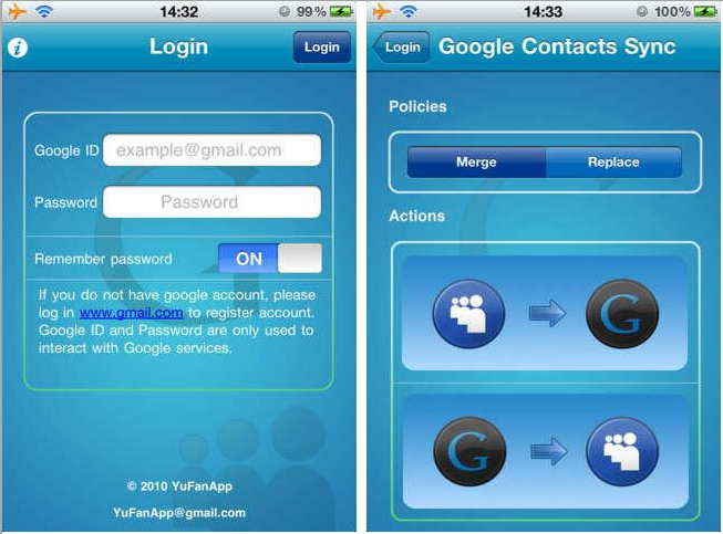 how to get google contacts on iphone