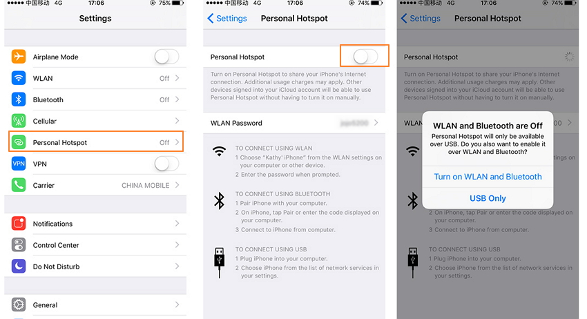 how to put on hotspot for iphone