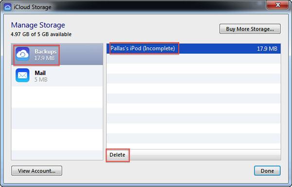 delete iCloud backups