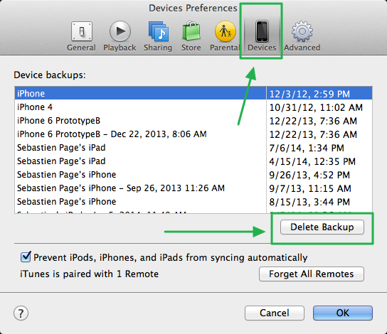 delete iPhone backup from iTunes