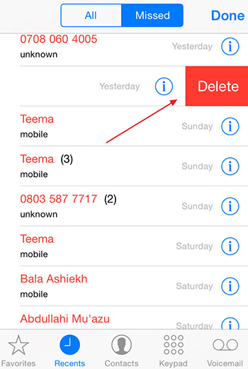 how to look at call log on iphone