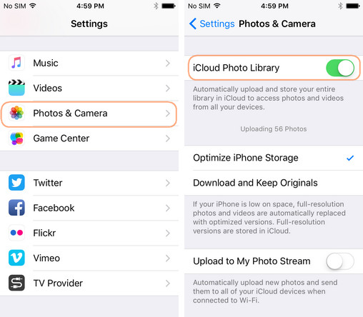 how to upload camera roll to icloud photo library