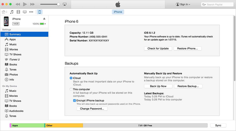 configuring iPhone backup password