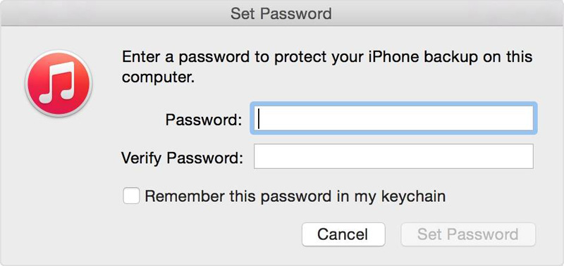 iPhone backup password