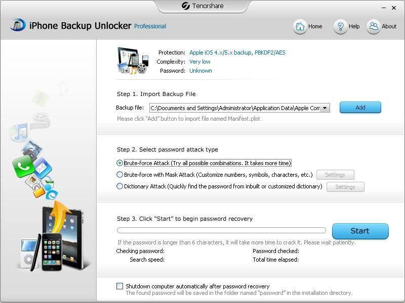 Ontsleutel een back-up wachtwoord.