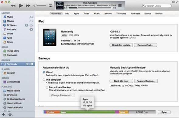 inizia a ripristinare da un backup iTunes