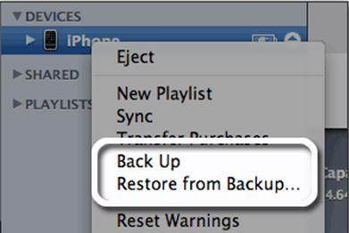 restore from iTunes backup completed