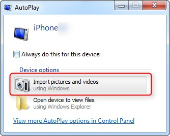 import pictures from Phone to Windows PC directly