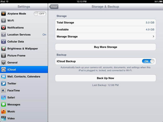 enable iCloud backup on iPad finished