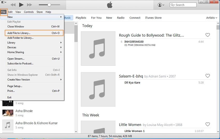 ipod shuffle to itunes-Add Folder to Library