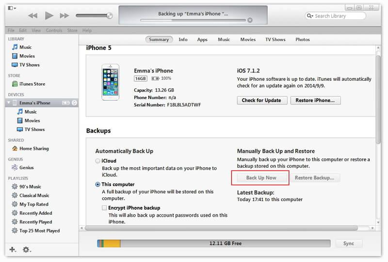 How To Backup Iphone  With Itunes