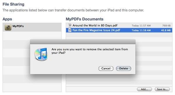 supprimer des documents iPad