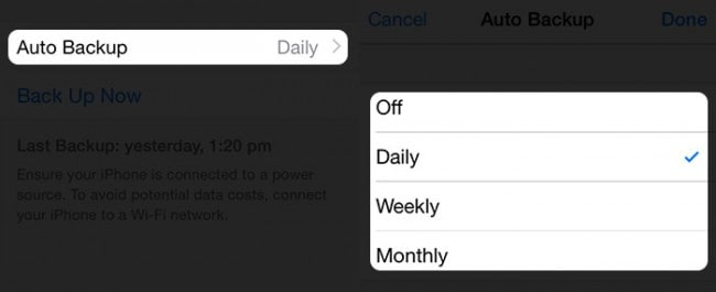 escolha o backup automático no iPhone