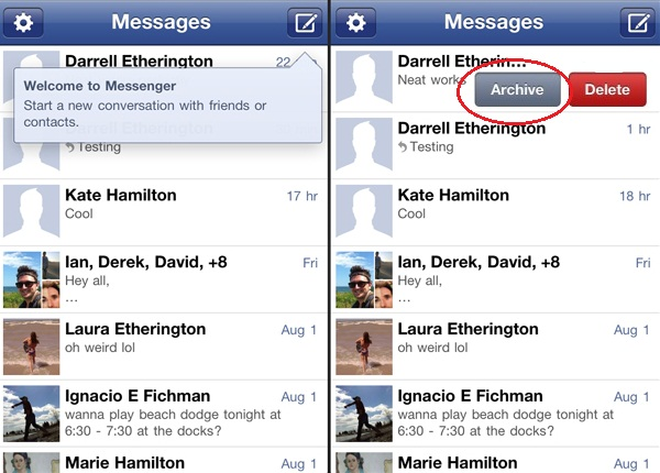 archive facebook messages on ios
