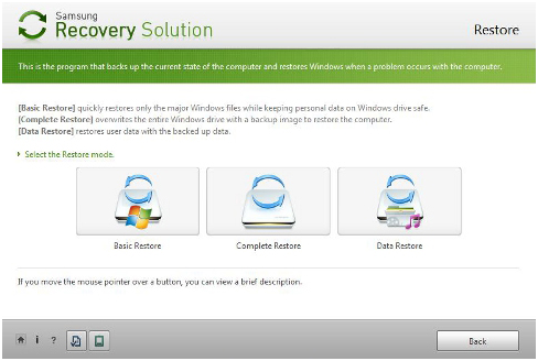 Die Versionen von Samsung Recovery Solution