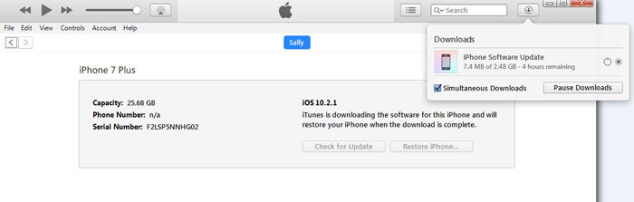 iTunes has detected an iPhone in recovery mode