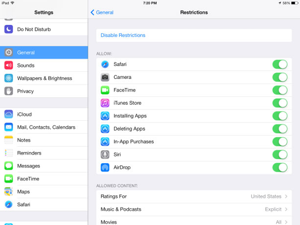 reset iphone restricties