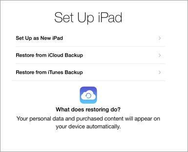 transfer old iPad data to ipad air