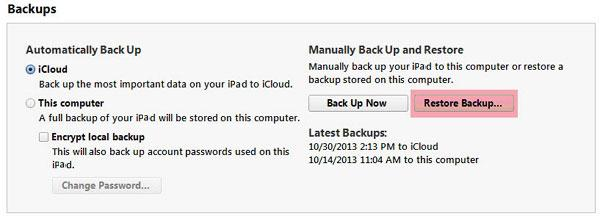 Copier les données anciennes de l'iPad sur l'ipad air