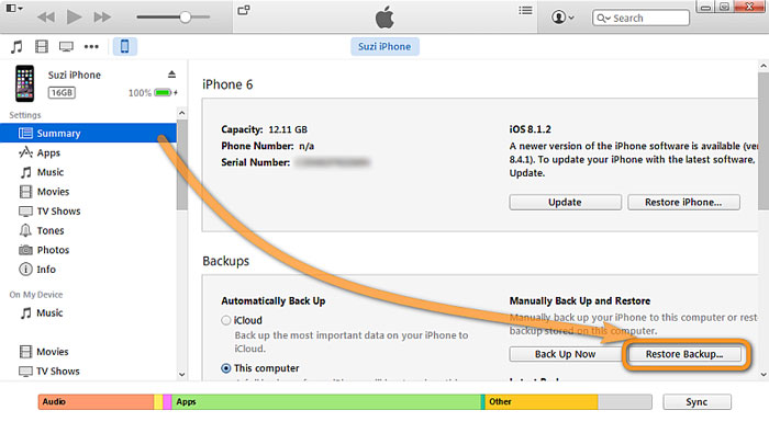 how to backup messages on iphone with iTunes