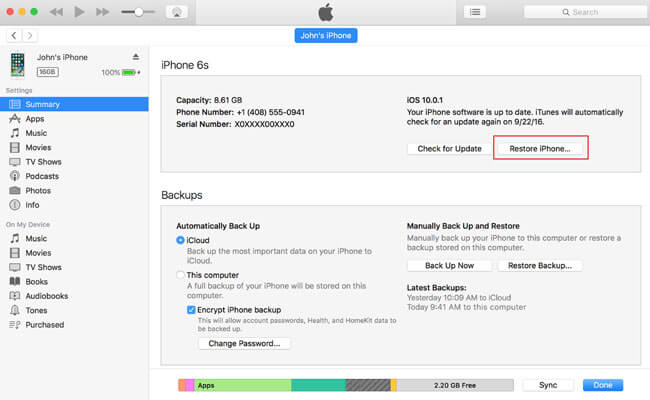 Restore iOS device with iTunes