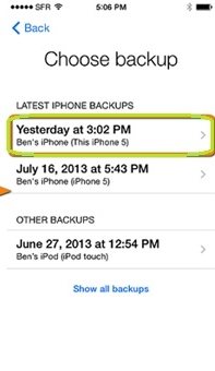 restore iphone photo-Choose your backup and restore