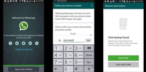 restore whatsapp android