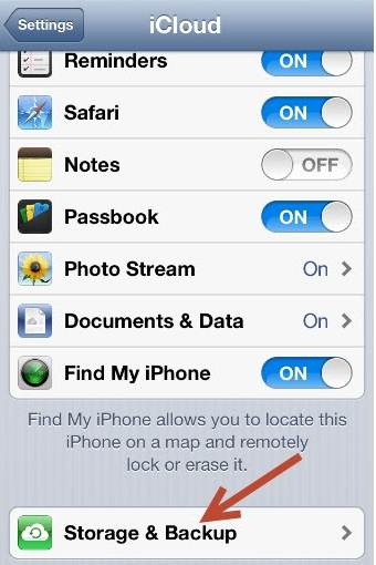 tap settings to enable iCloud backup on iPhone