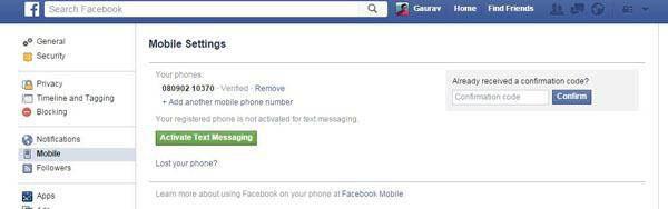 utilizando o serviço sms do facebook