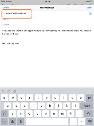 如何使用电子邮件将Notes从iPad传输到计算机 - 步骤3:选择Gmail选项
