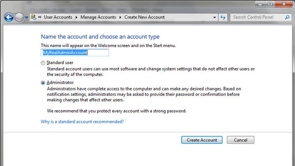 Create new administrator account