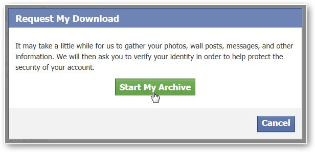 start archive to recover facebook messages