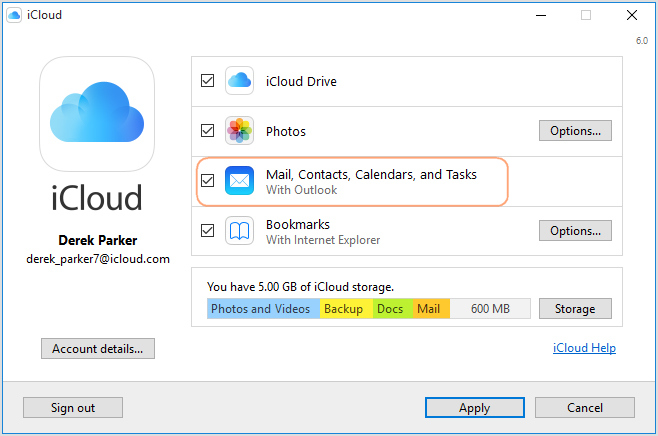 Sync Outlook with iPhone via iCloud